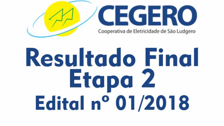 Resultado Oficial CEGERO – Etapa 2 – Edital nº 01/2018