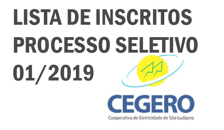 CEGERO – Lista de inscritos do Processo seletivo nº 01/2019