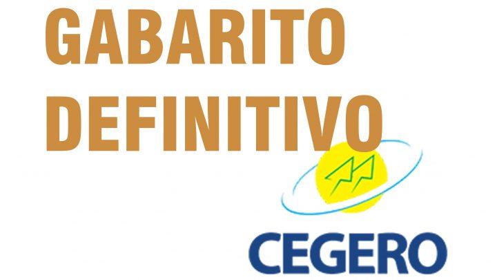 Gabarito Oficial CEGERO – Processo seletivo nº 01/2019
